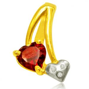 Surat Diamond 0.03 Cts Heart Shaped Real Gold Diamond & Garnet Pendant - P616