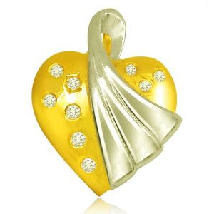 Surat Diamond 0.09 Cts Heart Shaped Real Gold Diamond Pendant - P617