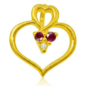 Triveni,Tng,Jharjhar,Surat Diamonds,Sukkhi Diamond Jewellery - Surat Diamond 0.01 cts Heart Shaped Real Gold Diamond & Ruby Pendant -  P618