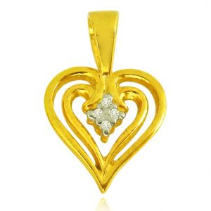 Surat Diamond 0.04 Cts Heart Shaped Real Gold Diamond & Ruby Pendant - P619