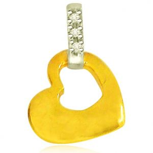 Surat Diamond 0.04 Cts Heart Shaped Real Gold Diamond Pendant - P620