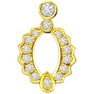 Lime,Surat Tex,Soie,Surat Diamonds,Flora,La Intimo,Unimod Women's Clothing - Surat Diamond 0.20 cts Elegant Curves Diamond Pendant -  P631