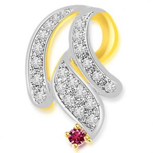 Surat Diamond 0.33 Cts Diamond & Ruby Two Tone 18k Pendant - P634