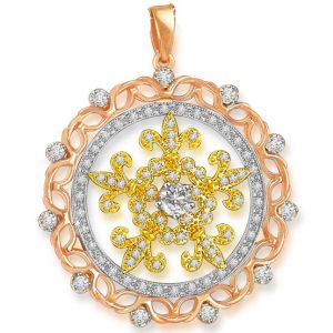 Surat Diamond 1.00 Cts Two Tone 18k Gold Diamond Pendant - P639
