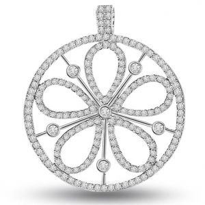 Surat Diamond 0.90 Cts White 14k Flower Diamond Pendant - P657