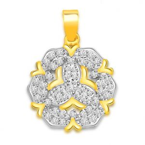 Rcpc,Kalazone,Jpearls,Surat Diamonds Precious Jewellery - Surat Diamond 0.75 cts Two Tone 18K Flower Diamond Pendant -  P663