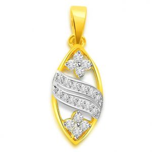 Rcpc,Jpearls,Surat Diamonds,Sukkhi,Port Women's Clothing - Surat Diamond 0.30 cts Two Tone 18K Flower Diamond Pendant -  P664