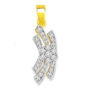 Surat Diamond 0.30 Cts Two Tone Flower Diamond 18k Pendant - P665