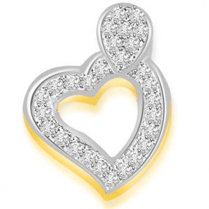 Surat Diamond 0.30 Cts Two Tone Heart Shape Diamond Pendant - P666