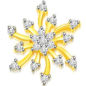 triveni,pick pocket,jpearls,surat diamonds,Jpearls,Port Diamond Jewellery - Surat Diamond 0.30 cts Sun Flower Diamond Pendant -  P670