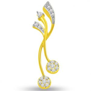 Triveni,Tng,Jharjhar,Surat Diamonds Women's Clothing - Surat Diamond 0.15 cts Designer 18K Gold Diamond Pendant -  P671