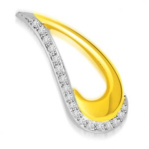 Surat Diamond 0.15 Cts Drop Shape 18k Gold Diamond Pendant - P673