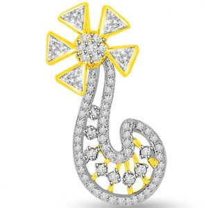 Surat Diamond 0.55 Cts Flower Shape Two Tone Diamond Pendant - P690