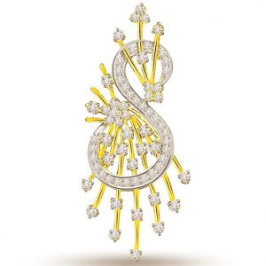 Surat Diamond S-shape Two Tone 18k Diamond Pendant - P696