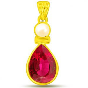 Surat Diamond 1.00 Tcw Ruby And Pearl Pendant In Yellow Gold - P1124