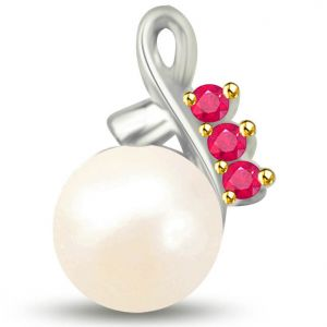 Surat Diamond Stunning White Gold Pendant Of Pearl And Rubies - P1127