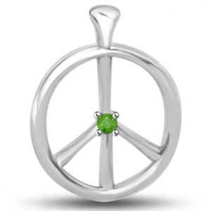 Surat Diamond Peace Pendant In White Gold With A Round Emerald - P1142