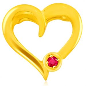 Surat Diamond 0.05 Cts Heart Shaped Real Gold Ruby Pendant - P610