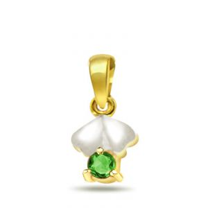 Surat Diamond 0.15ct Trendy Emerald Gold Pendant - P510
