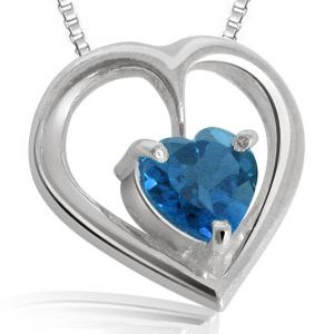 Pearl Pendants - Surat Diamond Pearl  Heart Shaped Blue Topaz Pendant With  silver finished chain  SDS70