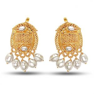 Surat Diamond 24kt Gold Plated Earrings With Dangling Freshwater Pearls Se138