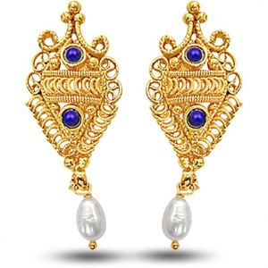 Surat Diamond 24kt Gold Plated Earrings With Blue Lapiz & Freshwater Pearl Se139