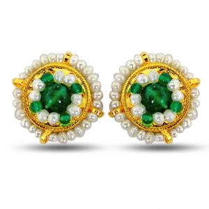 Surat Diamond Pearl Glowing Green Onyx Earrings Se39
