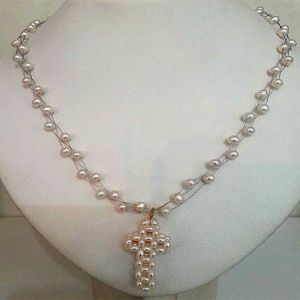 Surat Diamond Freshwater Pearl Necklace Cross Pendant Sn132