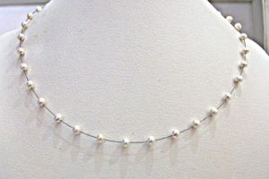 Surat Diamond Pearl Snow White Necklace Sn256