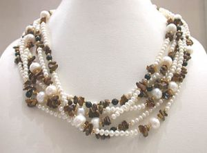 Surat Diamond Pearl Chocolate Avalanches Necklace Sn296