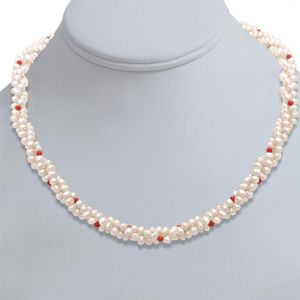 Surat Diamond Pearl Coral Bead Beauty Necklace Sn303