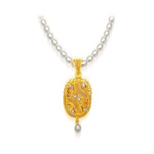 Surat Diamond Freshwater Pearl Necklace With 24kt Gold Plated Pendant Sn489