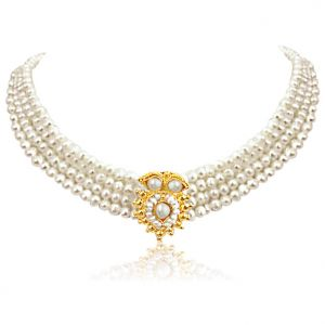 Surat Diamond Pearl Eternity Necklace Sn5