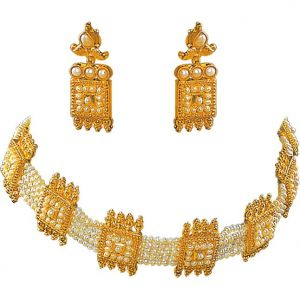 Surat Diamond Pearl Choker Magic Necklace Sp123
