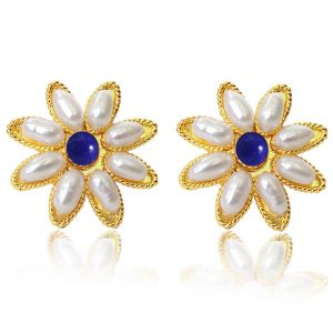 Surat Diamond Pearl Flower Shape Blue Heaven Earrings Sp83er