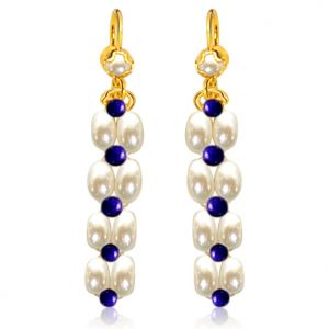 Surat Diamond Pearl Blue Lapis Bliss Earrings Se33