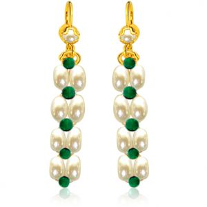 Surat Diamond Pearl Gorgeous Green Onyx Earrings Se34