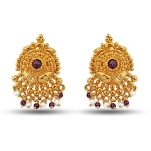 Surat Diamond Pearl Garnet Grace Earrings Se36