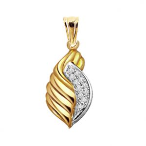 Surat Diamond - 0.10 Ct Diamond Shell Pendant P335 - P335