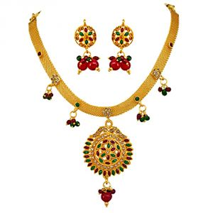 Surat Diamond Multi Colour Gold Plated Spellbinding Polki Set - Ps99