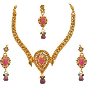 Surat Diamond Multi Colour Gold Plated Stone Jewellery Set - Ps125