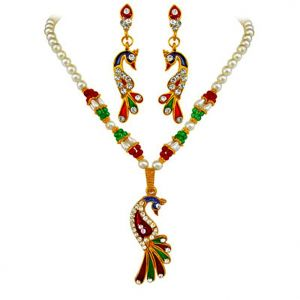 Surat Diamond Beads & Shell Pearl Gold Plated Priya- Dazzling Peacock Set - Ps90