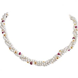 Surat Diamond - Ruby Love Pearls Necklace - Rbn16