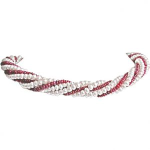 Surat Diamond - Ruby Choker Charm Necklace - Rbn2