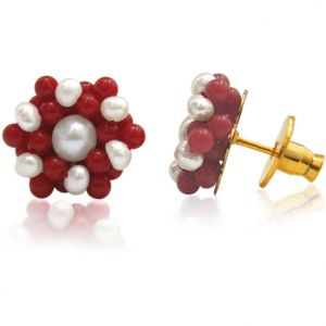 Surat Diamond - Pearl & Red Coral Earring - Se108