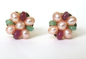 Surat Diamond - Emerald Ruby & Peach Pearls Kudajodi - Se121