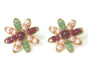 Surat Diamond - Stylish Emerald Ruby & Peach Pearl Star Shape Earring Se-123 - Se123