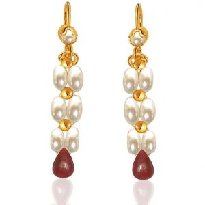 Surat Diamond - Drop Ruby & Rice Pearl Earrings. - Se126