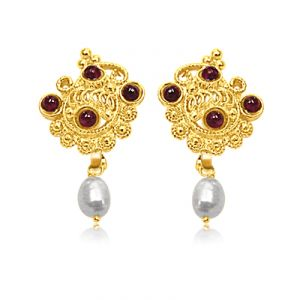 Surat Diamond - 24kt Gold Plated Pearl & Garnet Earrings - Se141