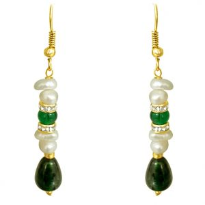Surat Diamond - Real Freshwater Pearl & Drop Green Stone Hanging Earring. - Se189